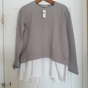 NEW NWT Anthropologie eri + ali L grey top shirt